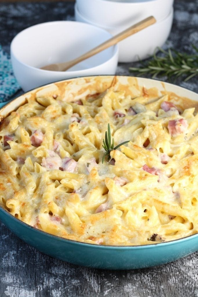 Baked Penne Pasta in pan with serving bowls