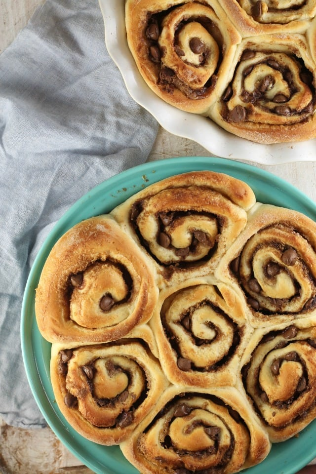 Chocolate Chip Sweet Rolls with Peanut Butter Icing Recipe ~ MissintheKitchen.com