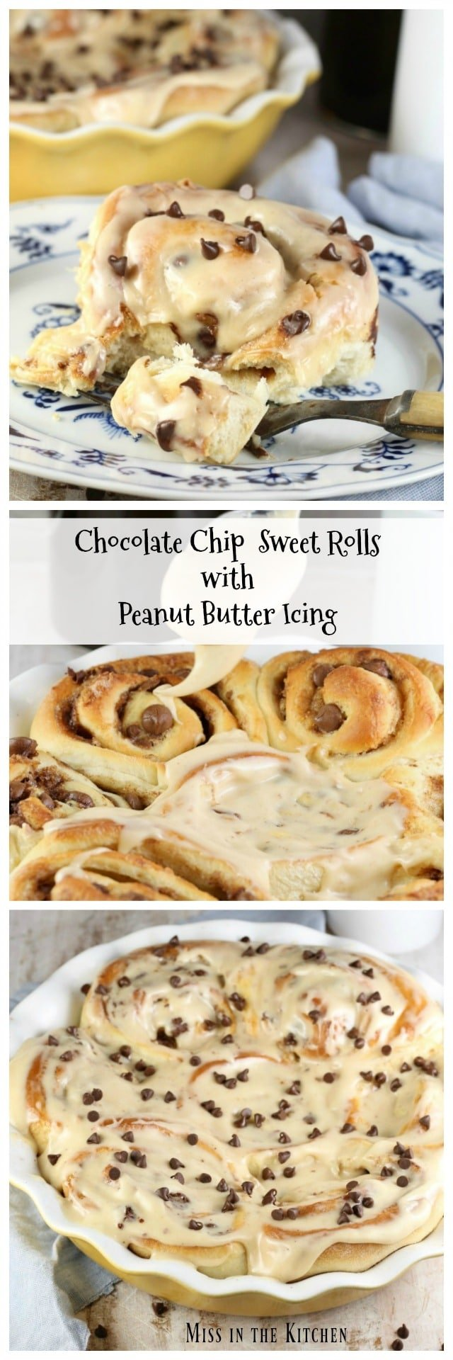 Chocolate Chip Sweet Rolls with Peanut Butter Icing Recipe that is perfect for the peanut butter and chocolate lovers! MissintheKitchen.com