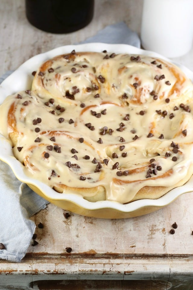 Chocolate Chip Sweet Rolls with Peanut Butter Icing Recipe | MissintheKitchen.com ~ Delicious weekend breakfast treat!