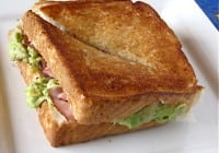 Grilled Ham & Swiss with Avocado Mash
