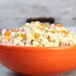 Close up Bowl of Sweet Macaroni Salad