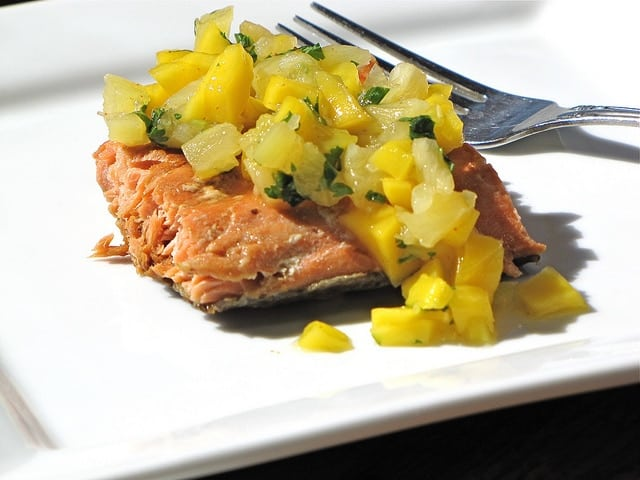 5554088824 a3a6dbec66 z Chipotle Honey Glazed Salmon with Mango & Pineapple Salsa