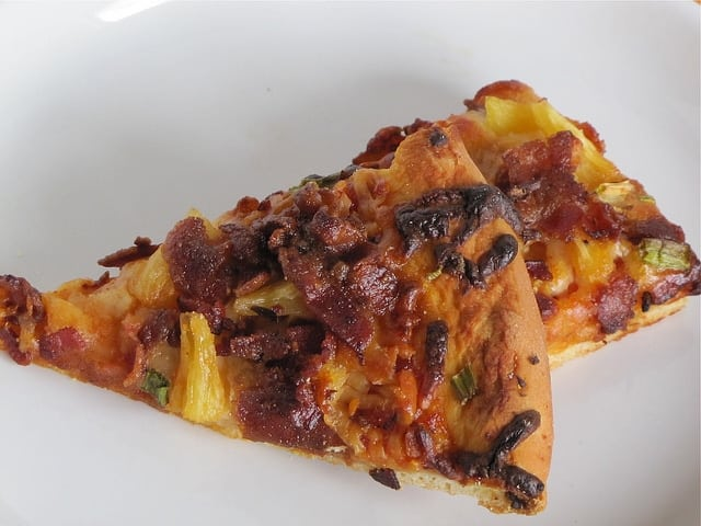 Miss in the Kitchen's Hawaiian Pizza made with Slatherin' Sauce