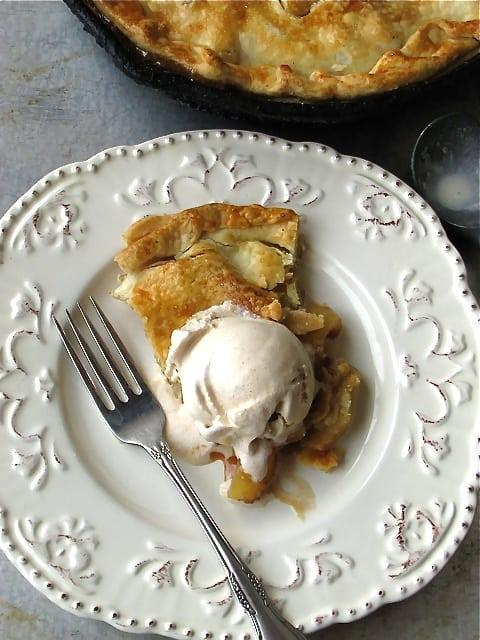 skillet apple pie with homemade cinnamon ice cream - Homemade Pie Kitchen