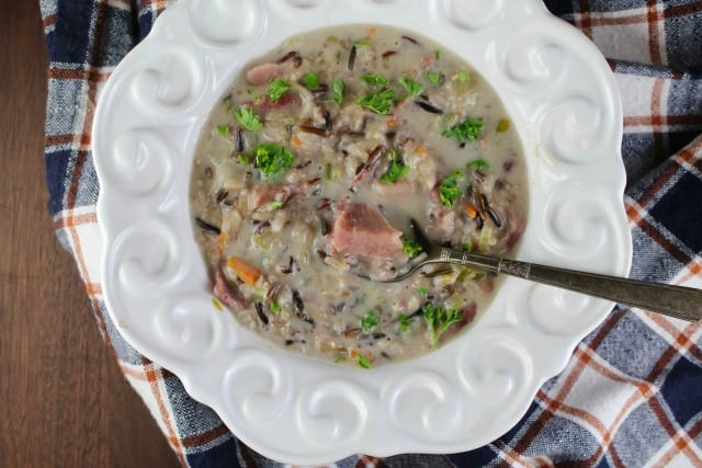 Creamy Ham & Wild Rice Soup from MissintheKitchen