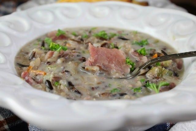 Creamy Ham and Wild Rice Soup Recipe found at MissintheKitchen.com