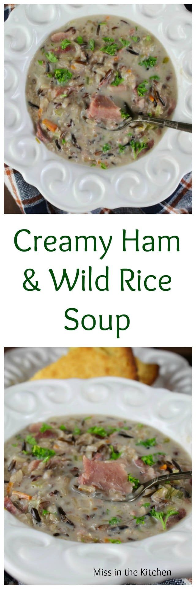 Creamy Ham & Wild Rice Soup Recipe from MissintheKitchen.com Great for leftover holiday ham!
