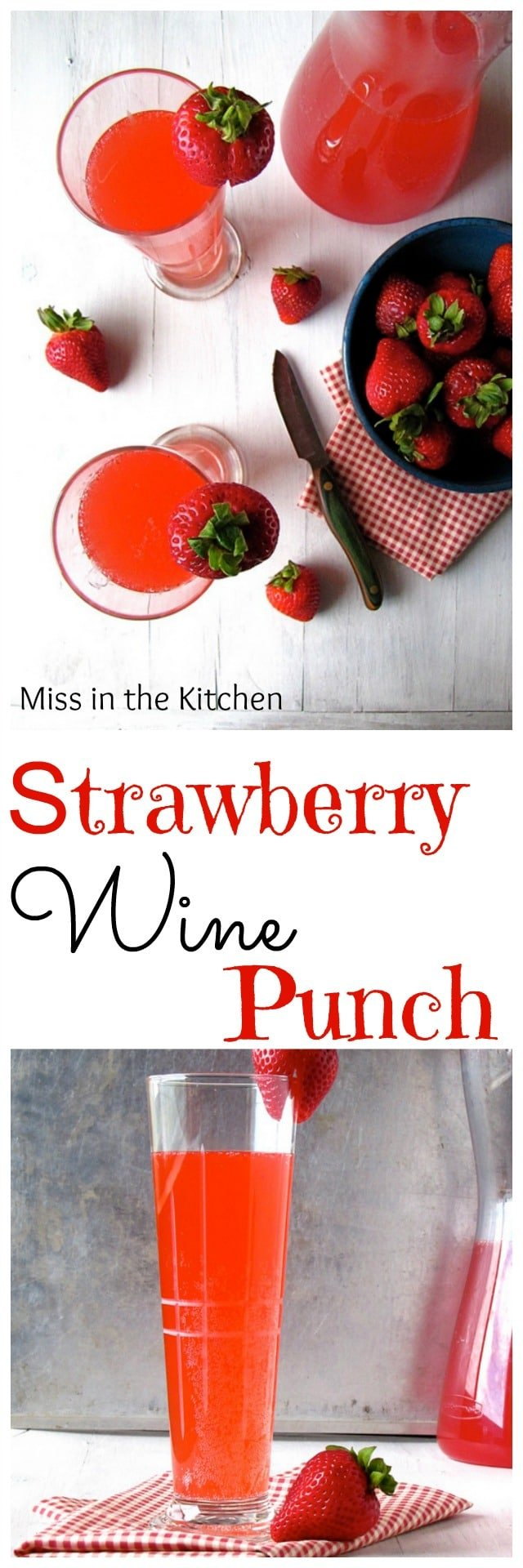 Strawberry Wine Punch Cocktail Recipe from MissintheKitchen.com