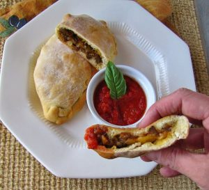 Sausage and Pepper Calzones 300x273 Sausage and Pepper Calzones