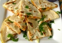 Smoked Salmon Quesadillas with Chipotle Sour Cream