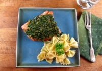 Quick Oven Roasted Salmon with Spinach Pesto