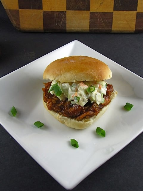 Sweet & Spicy Barbecue Chicken Sliders with Ranch & Green Onion Slaw from www.missinthekitchen.com
