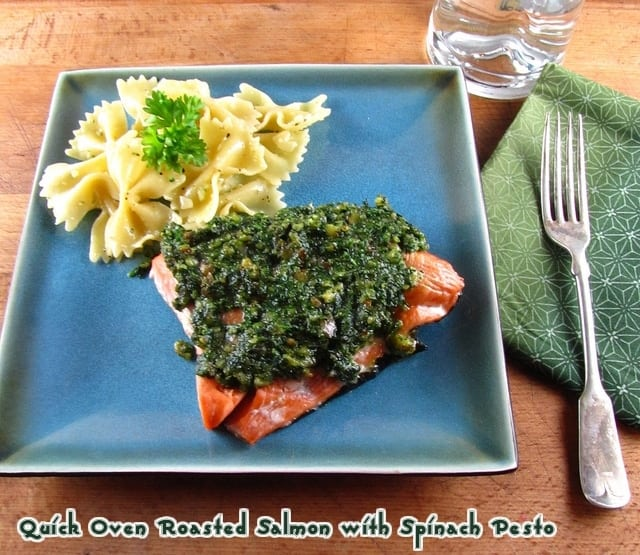 Quick Oven Roasted Salmon with Spinach Pesto | Miss in the Kitchen