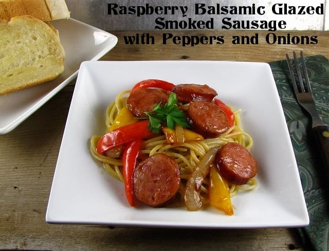Raspberry Balsamic Glazed Smoked Sausage with Peppers & Onions | www.missinthektichen.com