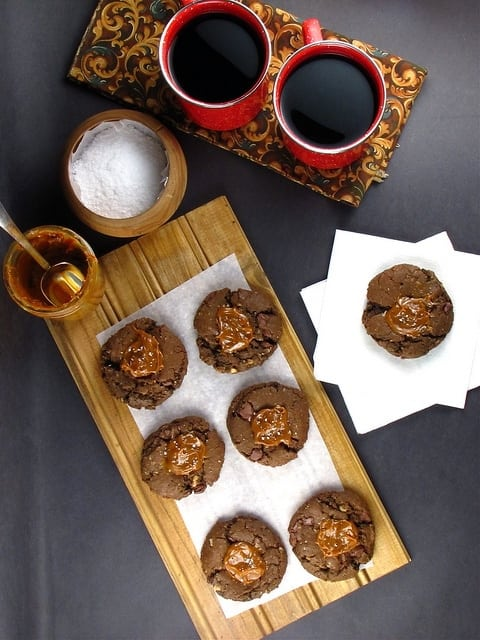 Cowgirl Cookies: Salted Caramel Chocolate Oatmeal Cookies with Milk Chocolate Chunks | Miss in the Kitchen