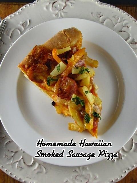 Homemade Hawaiian Smoked Sausage Pizza from www.missinthekitchen.com
