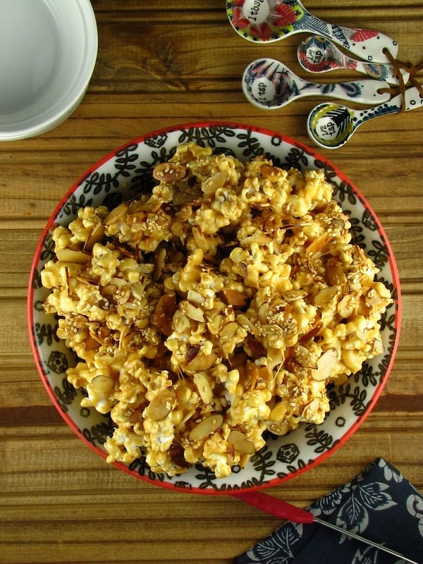 Toasted Sesame & Almond Caramel Popcorn - Miss in the Kitchen