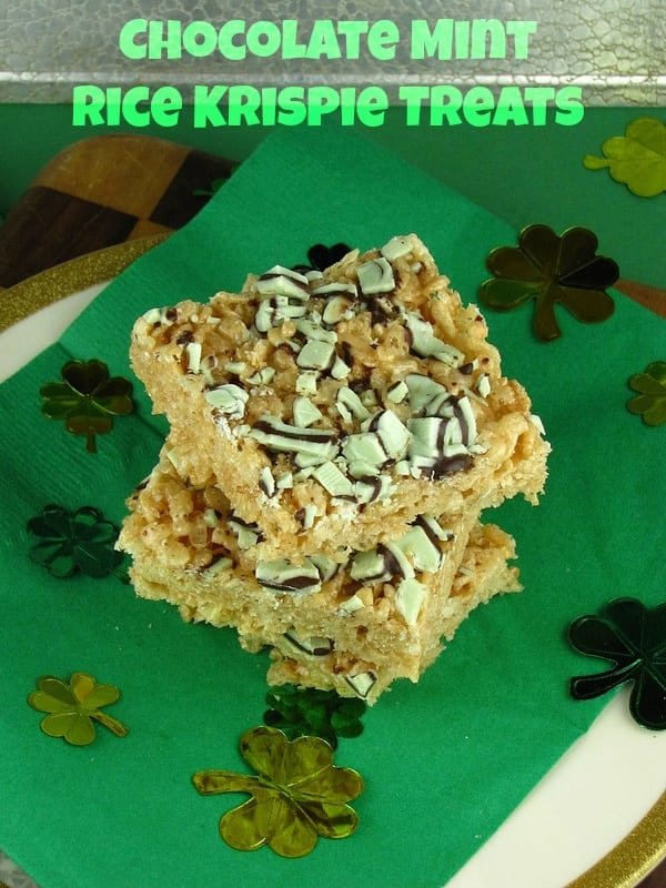Chocolate Mint Rice Krispie Treats | Missinthekitchen.com