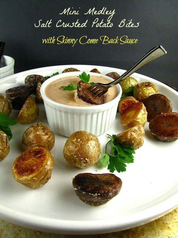 Salt Crusted Mini Medley Potato Bites with Skinny Comeback Sauce from missinthekitchen.com