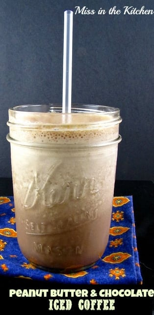 Peanut Butter & Chocolate Iced Coffee Recipe to keep you cool on those hot summer days! From MissintheKitchen.com