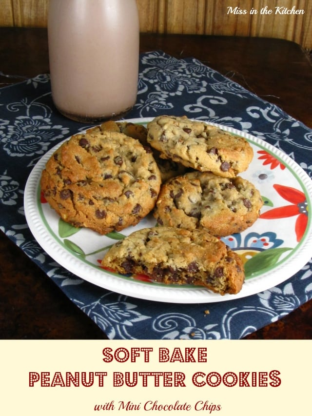 Soft Bake Peanut Butter Cookies with Mini Chocolate Chips - Miss in the Kitchen