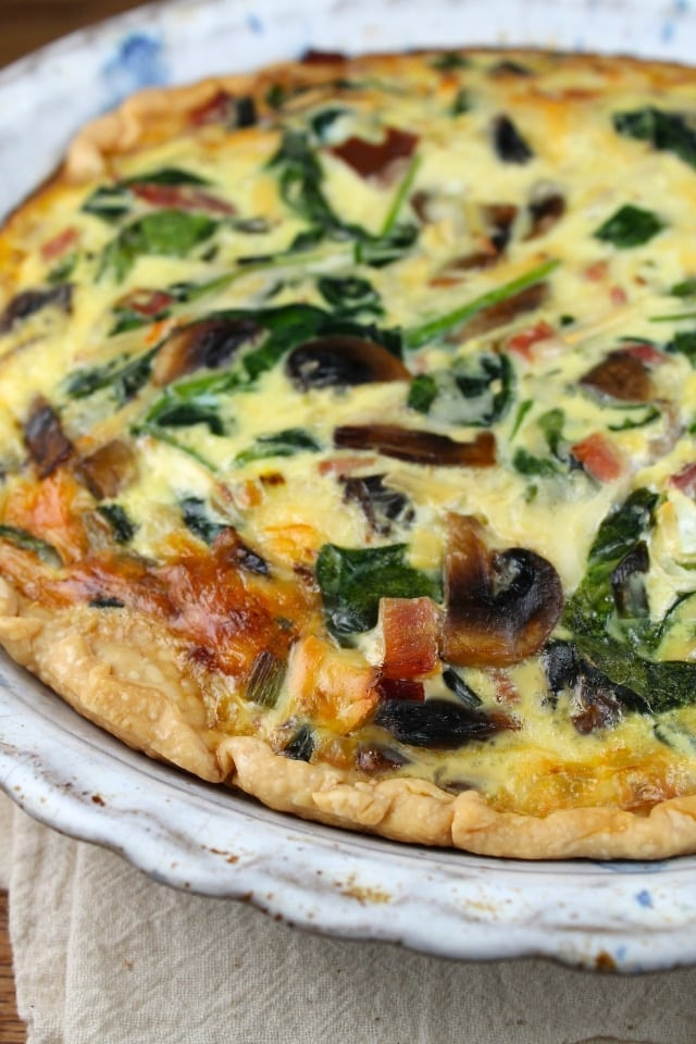 Ham, Mushroom & Spinach Quiche Recipe for brunch or dinner. From MissintheKitchen.com