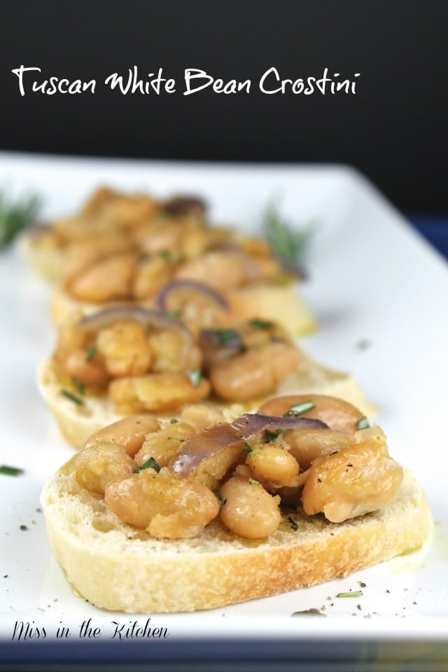Tuscan White Bean Crostini is a simple and delicious appetizer perfect ...