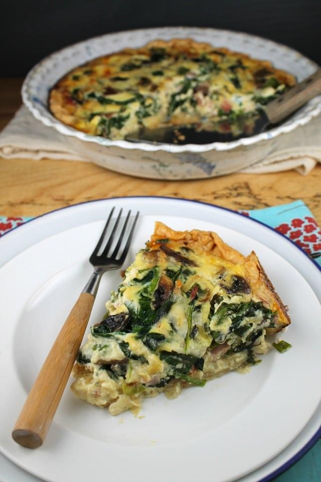 mushroom and spinach quiche 2