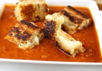 Quick Tomato Soup with Dubliner Grilled Cheese Croutons