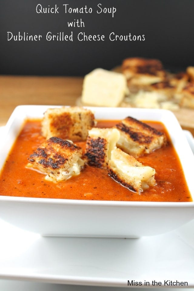 ... Soup with Dubliner Grilled Cheese Croutons from Miss in the Kitchen