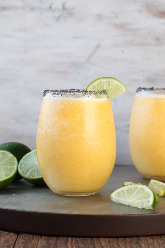 Frozen Peach Margarita Recipe ~ Easy slushie cocktail perfect for summer parties!