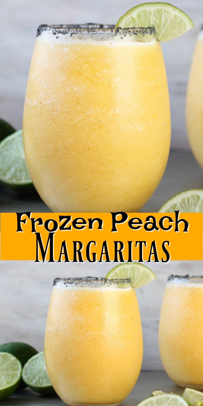 Frozen Peach Margaritas Recipe Photo Collage