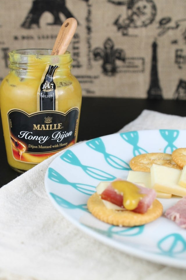 Maille Mustard with cheese and crackers
