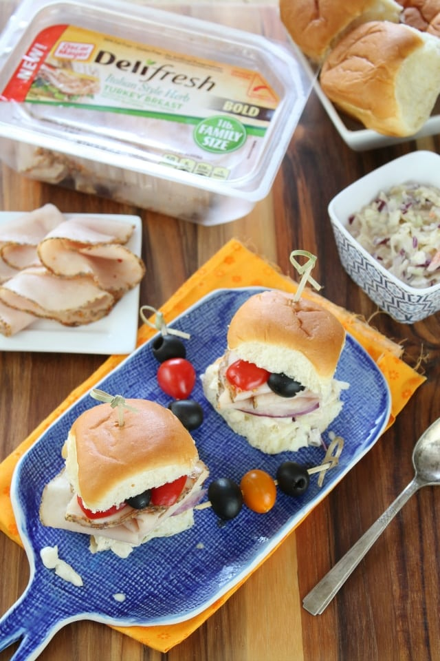 Italian Herb Turkey Sliders with Red Onion Balsamic Slaw from Miss in the Kitchen