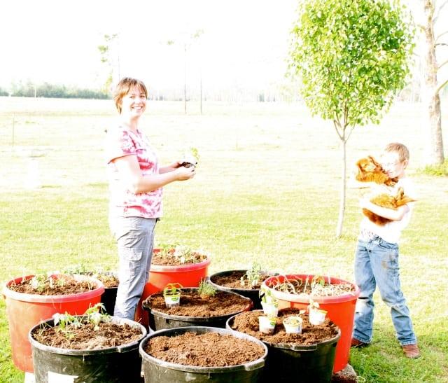milisa and emmet planting tomatoes