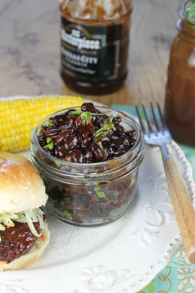 KC Masterpiece Barbecue Skillet Beans Recipe from Miss in the Kitchen