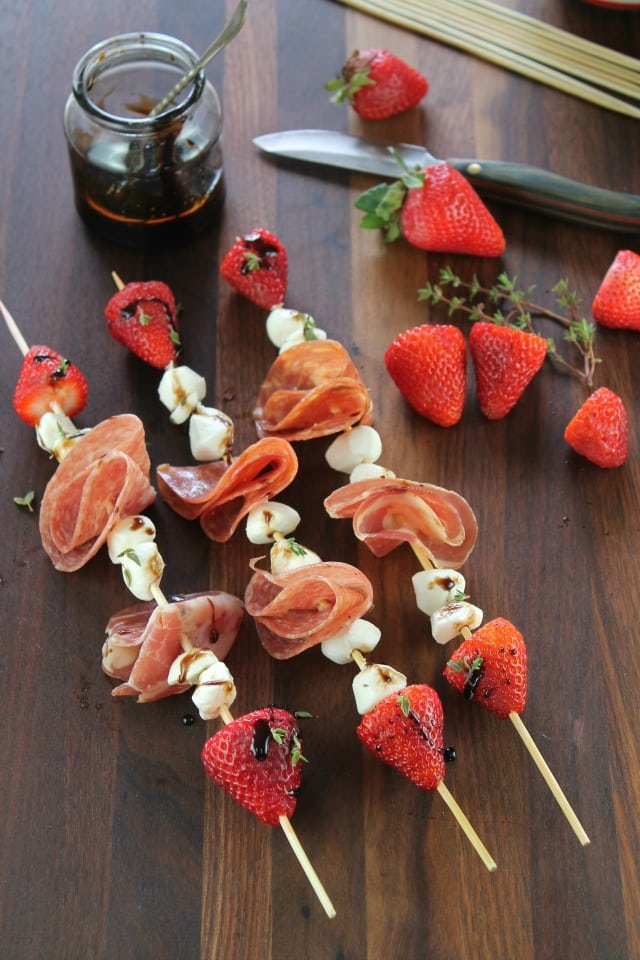 Strawberry, Mozzarella & Salami Skewers with Balsamic Glaze from Miss in the Kitchen