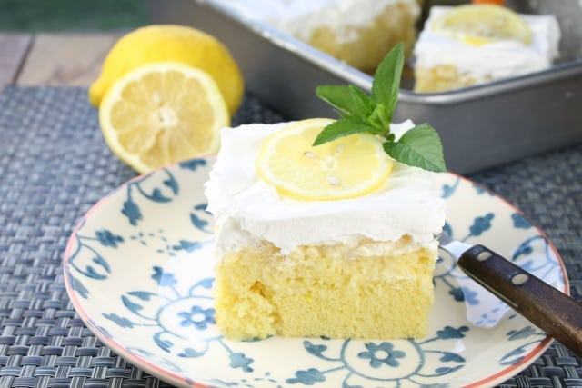 Lemon-Pineapple Poke Cake Recipe from Miss in the Kitchen