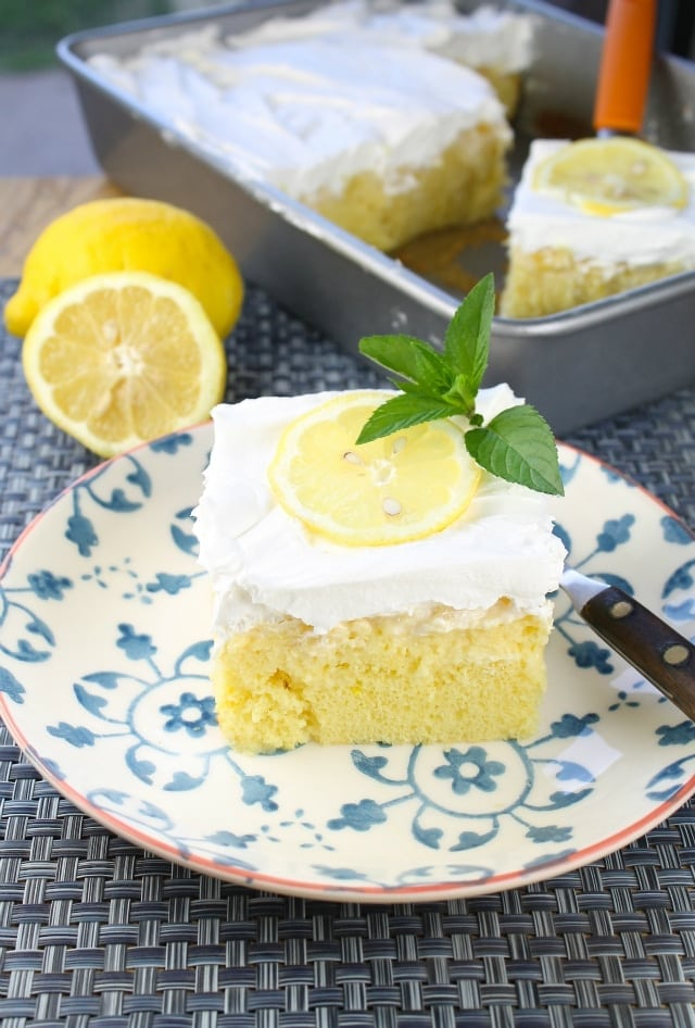 Lemon-Pineapple Poke Cake from Miss in the Kitchen