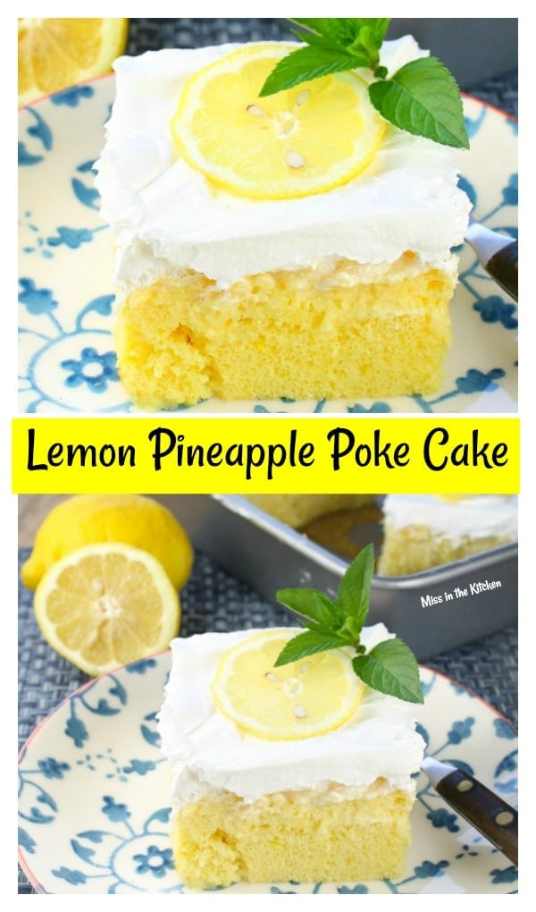 Lemon Pineapple Poke Cake with Cool Whip and a Lemon Slice