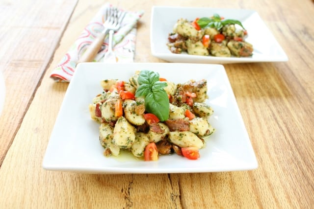 Gluten Free Gnocchi with Bacon, Tomato & Pesto from Miss in the Kitchen