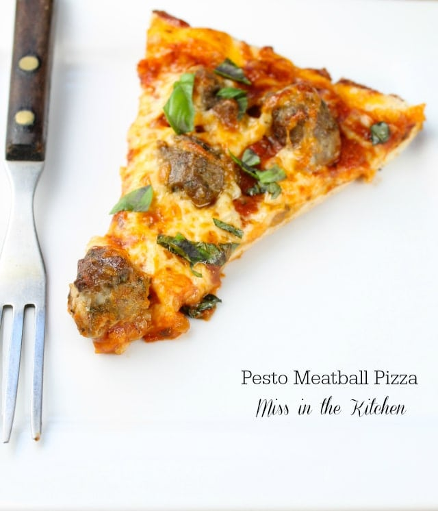 Pesto Meatball Pizza from Miss in the Kitchen