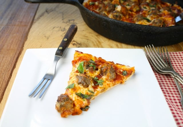 Pesto Meatball Pizza from missinthekitchen.com