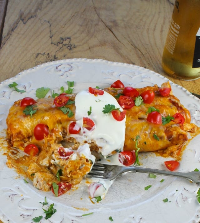 Epic Creamy Chicken Enchiladas from Miss in the Kitchen #recipe #texmex