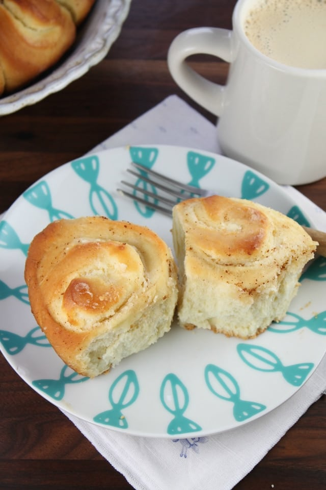Cream Cheese Filled Brioche Rolls with Maple & Brown Butter Glaze from Miss in the Kitchen