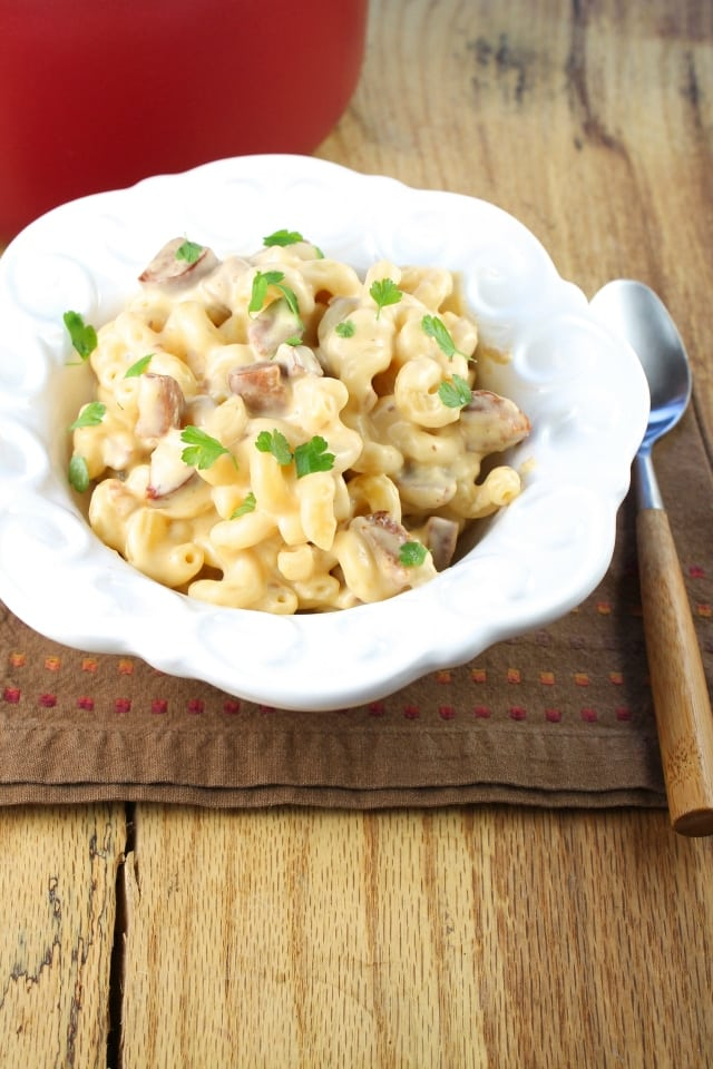 smoky mac and cheese with andouille sausage