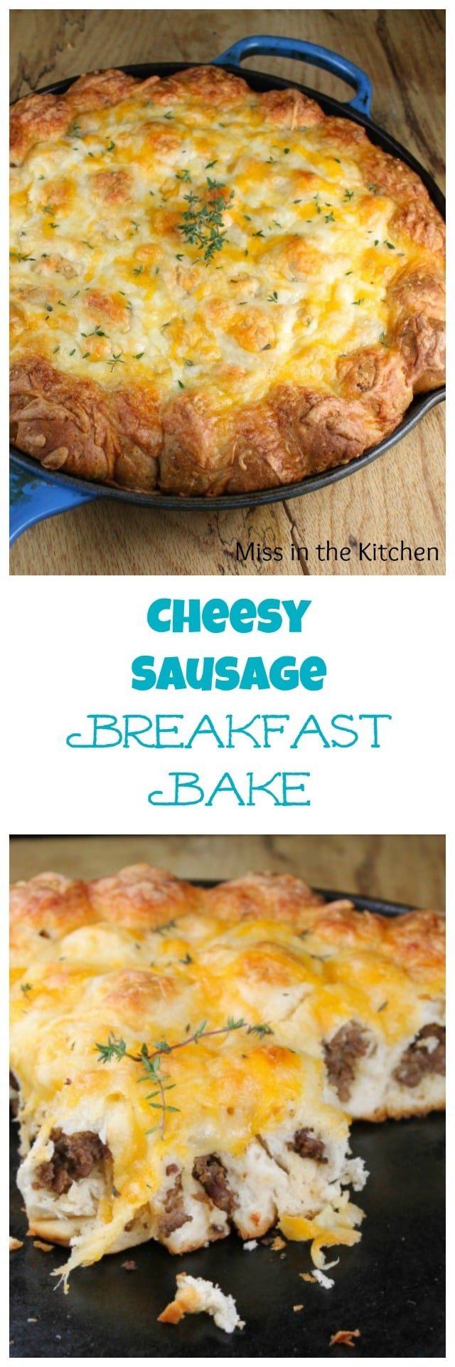 Cheesy Sausage Breakfast Bake Recipe from MissintheKitchen #ad
