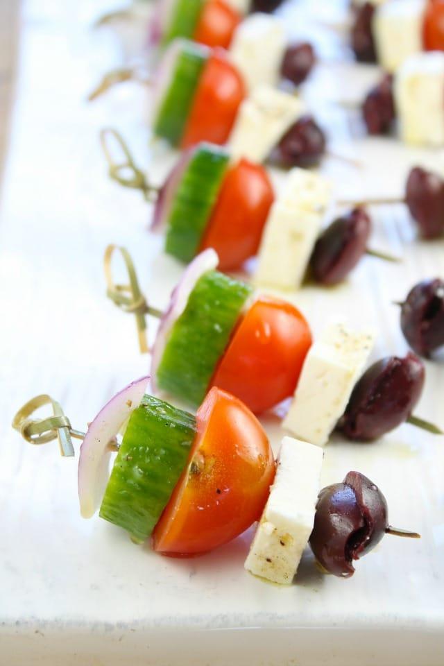Greek Salad Skewers from missinthekitchen.com #ProgressiveEats