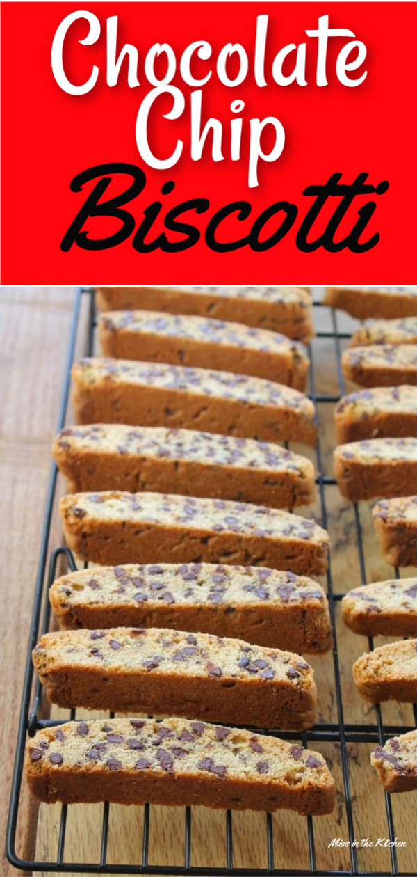 Chocolate Chip Biscotti on a wire rack